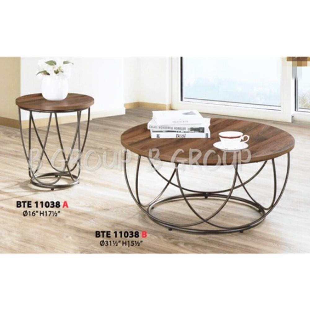 Dhome ( Set of 2 ) Round Coffee Table and Side Table with Veneer Table Top & Metal Leg ( Walnut )