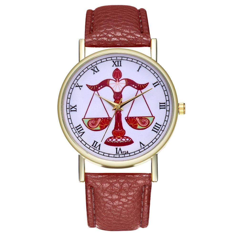 Libra Women's Fashion Casual Leather Strap Analog Quartz Round Watch