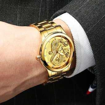 FNGEEN Mens Luxury Fashion Stainless Steel Watches 3D engraving Golden Dragon Quartz Watch-