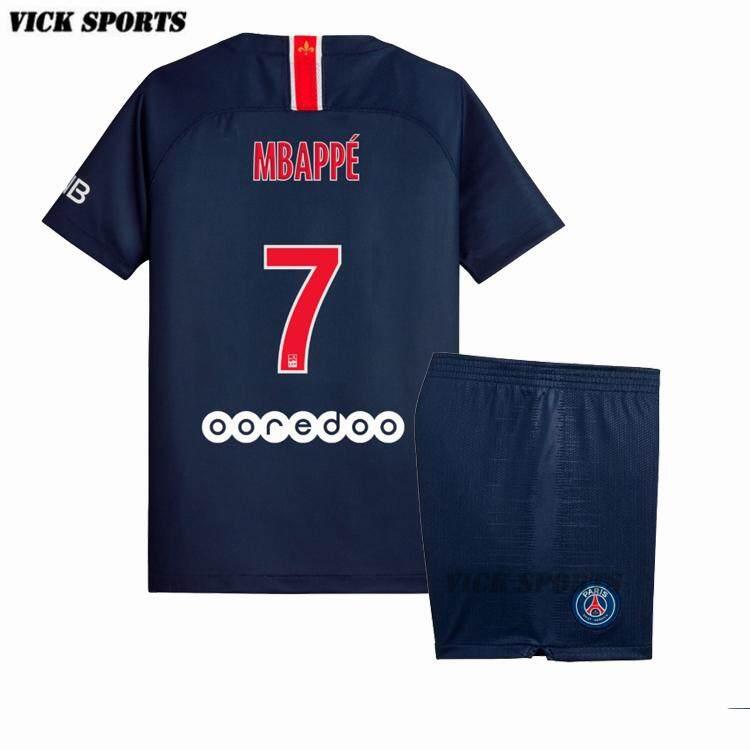 separation shoes bda27 b26f3 (3-16 years)2019 New Season Top Quality PSG No.7 Mbappe Paris Saint-Germain  Home and Away Football Jersey Kit soccer Shirt free shorts High ...