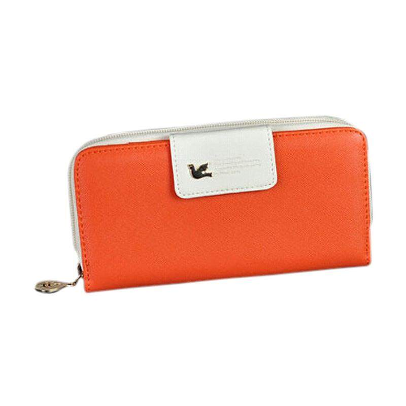 New fashion style Women Wallet Hasp high Capacity Purse Clutch phone bag Orange + White
