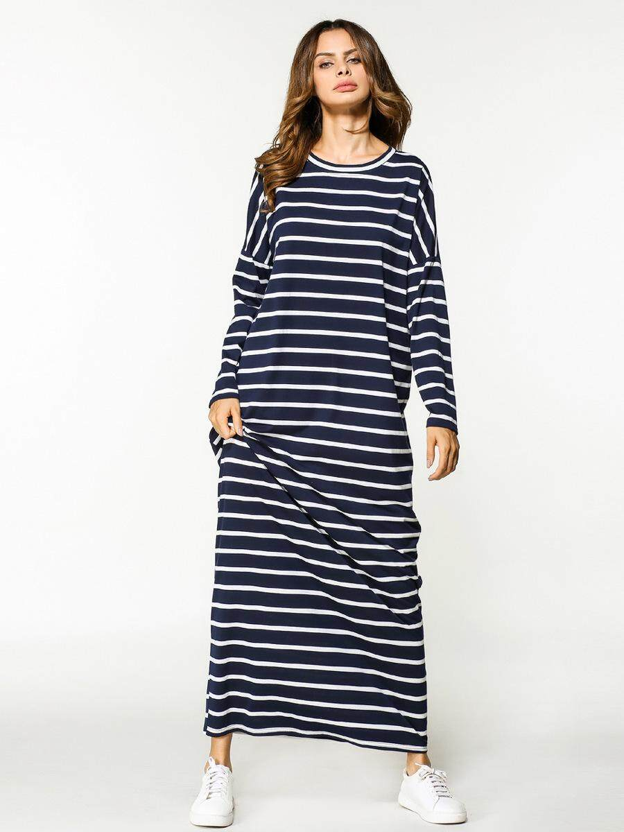 Casual Maxi Dress Stripe Cotton Middle East Abaya Shirt Loose Style Muslim