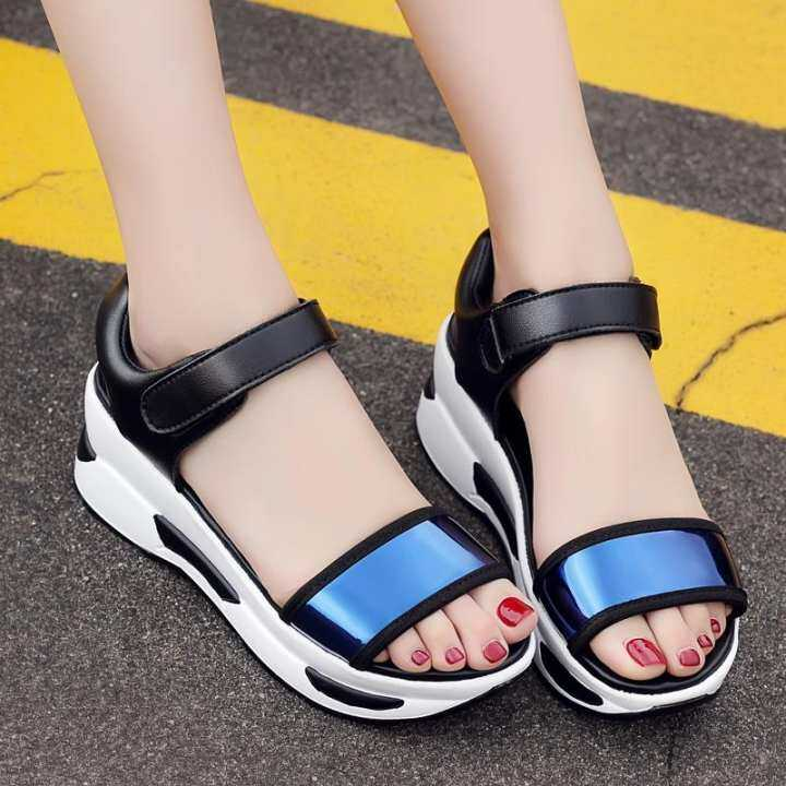 Women 3-colors magic tape Fashion All-match mirror sandals Heightening Breathable Sandals Comfortable Sandals Breathable 8863a0