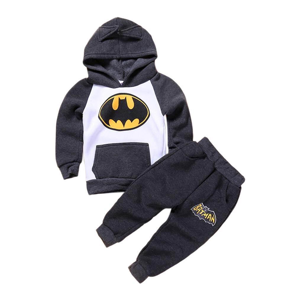 Xiziy 2Pcs/Set Kids Boy Girl Bat Hoodie Sweatshirt Suit Outfits Tops Pants Fashion Accs