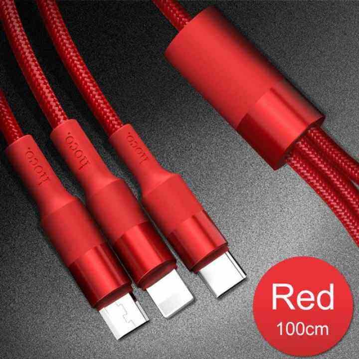 Legoal HOCO 3 In 1 Kabel USB untuk iPhone X 8 7 6 3in1 Mikro USB Tipe C Kabel Pengisi untuk Samsung S9 Universal Telepon Seluler charge Cord