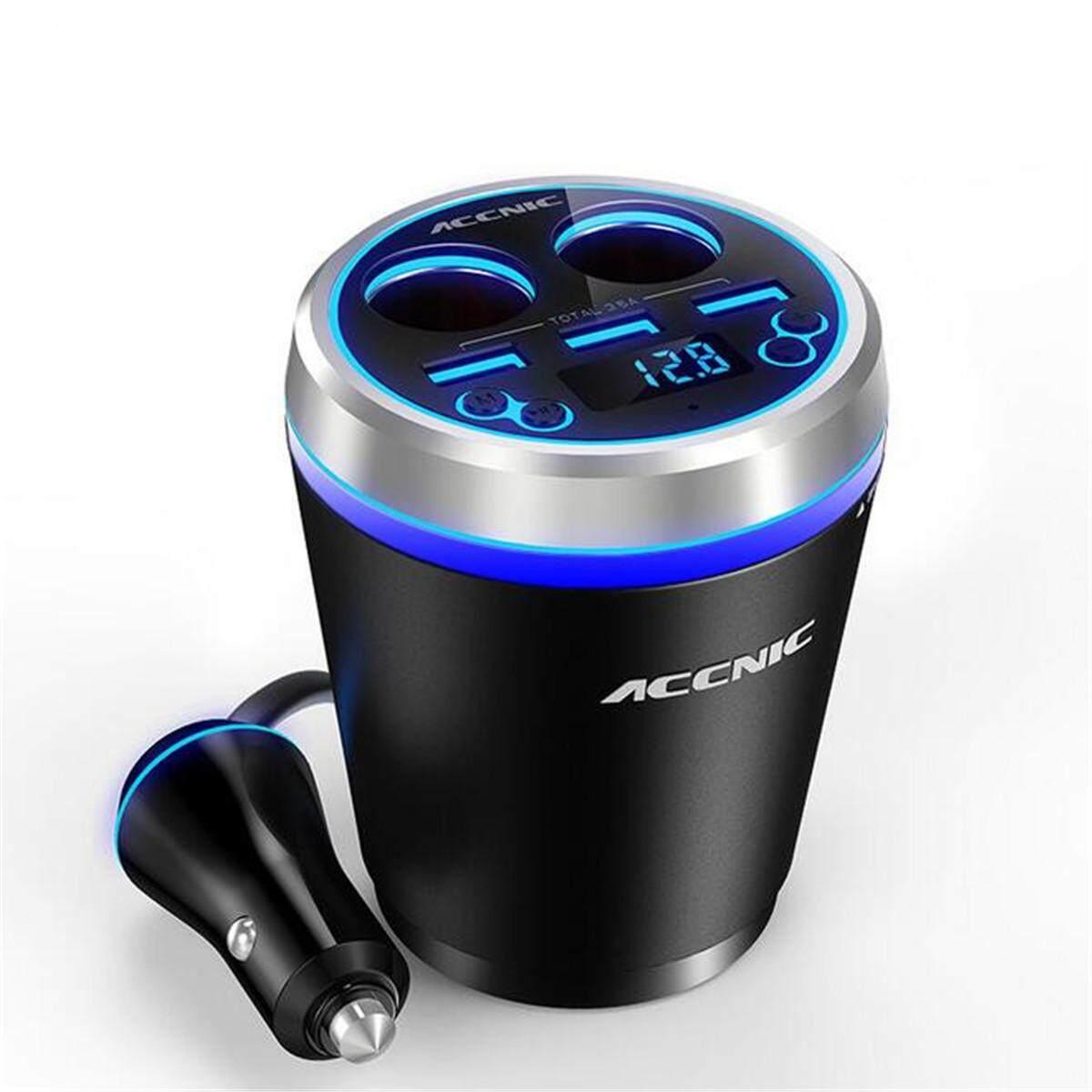 3 cổng Sạc USB Phát FM Radio MP3 Nghe bluetooth Bộ Tay Nghe # xanh dương-quốc tế