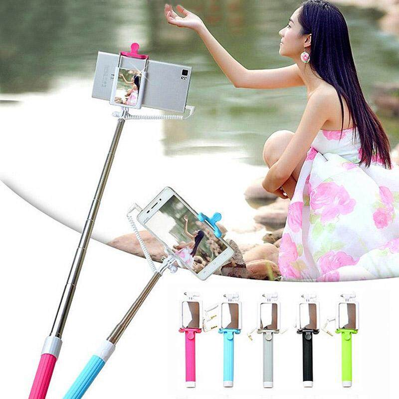 New Portable Handheld Extendable Monopod Selfie Stick With Back Capture Mirror For iPhone 6 7 8 Samsung Huawei Xiaomi OPPO Vivo.