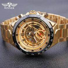 WINNER Men Watch 2018 Automatic mechanical watches Sport Skeleton Design Bezel Golden Watch Mens Watches Top Brand Luxury Clock