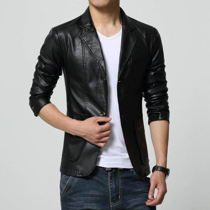 SUNAIS Men's Blazer Jacket Soft PU Leather Coat Fashion Slim Fit Suit Style Casual Blazers