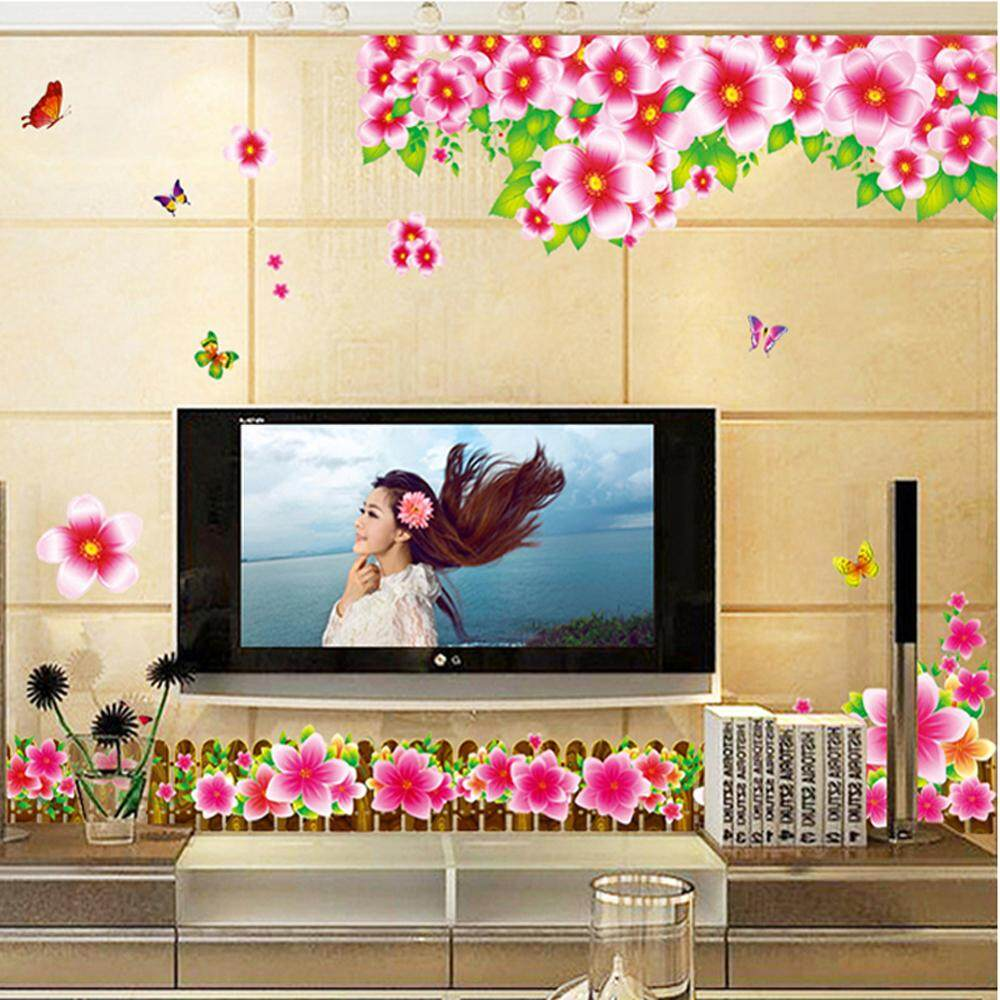 Red Fench Flower PVC Wall Decals DIY Home Sticker WallPaper Vinyl Wall arts Pictures Removable Murals For House Decoration Baby Living Rooms Bedroom Toilet