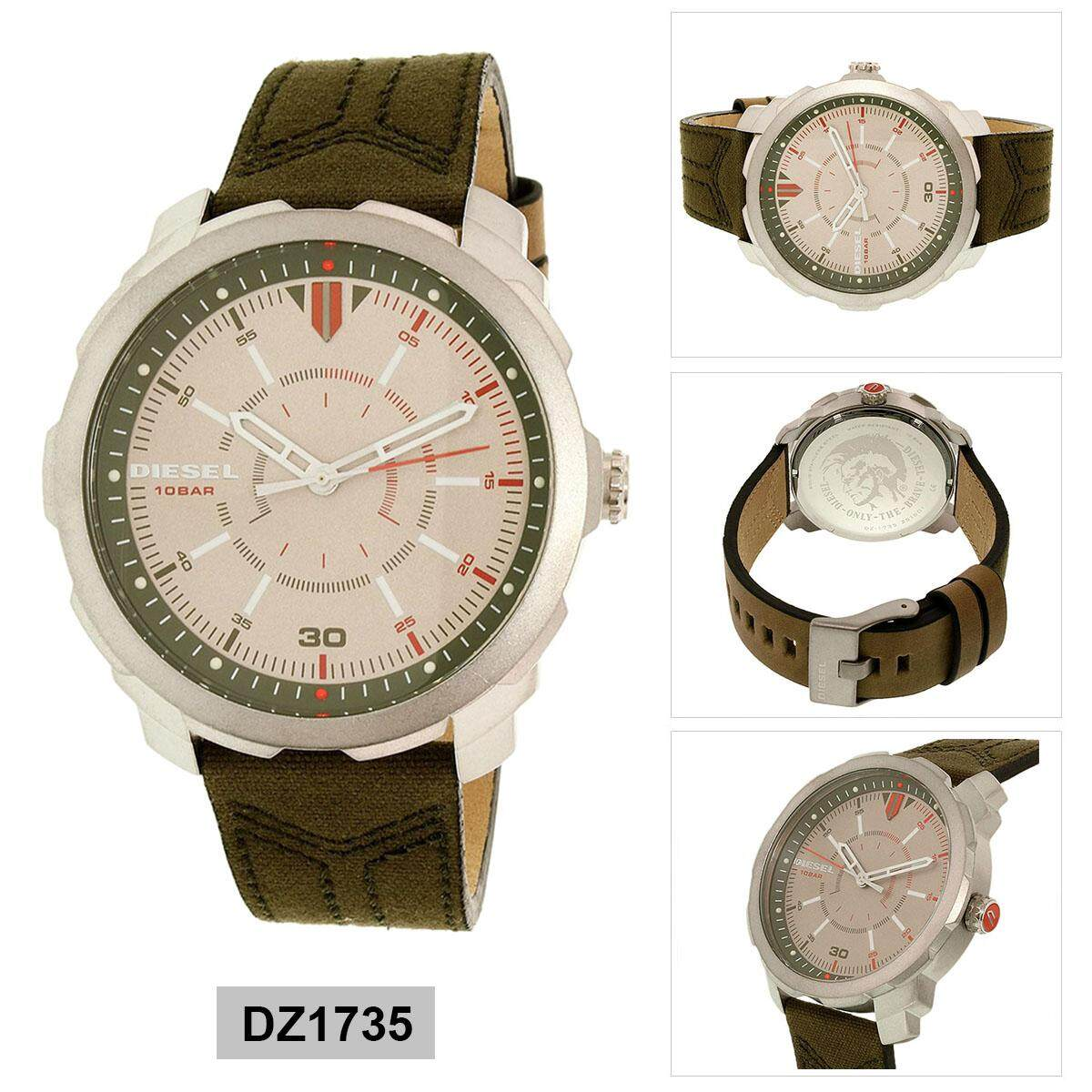 ยี่ห้อไหนดี  แพร่ Authentic Diesel Machinus Brown Stainless-Steel Case Leather Strap Mens DZ1735 2 Years Warranty