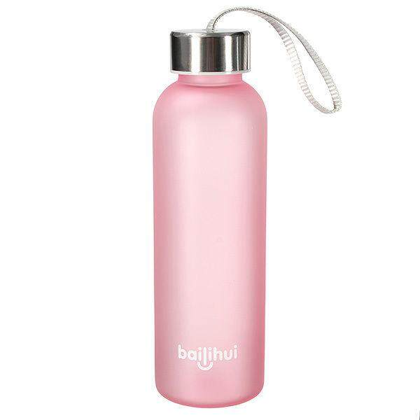 bailihui Unbreakable Leak-proof Travel Frosted Water Bottle Camping Cycling 550ML Pink