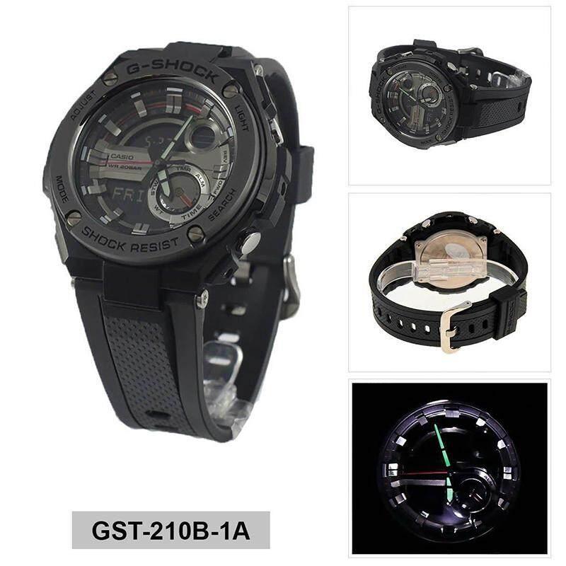 ยี่ห้อนี้ดีไหม  อุบลราชธานี 【 STOCK】Original _ Casio_G-Shock GST210 Duo W/เวลา 200M กันน้ำกันกระแทกและกันน้ำโลกนาฬิกากีฬาไฟแอลอีดีอัตโนมัติ Wist นาฬิกากีฬาสำหรับ MenGST-210B-1A