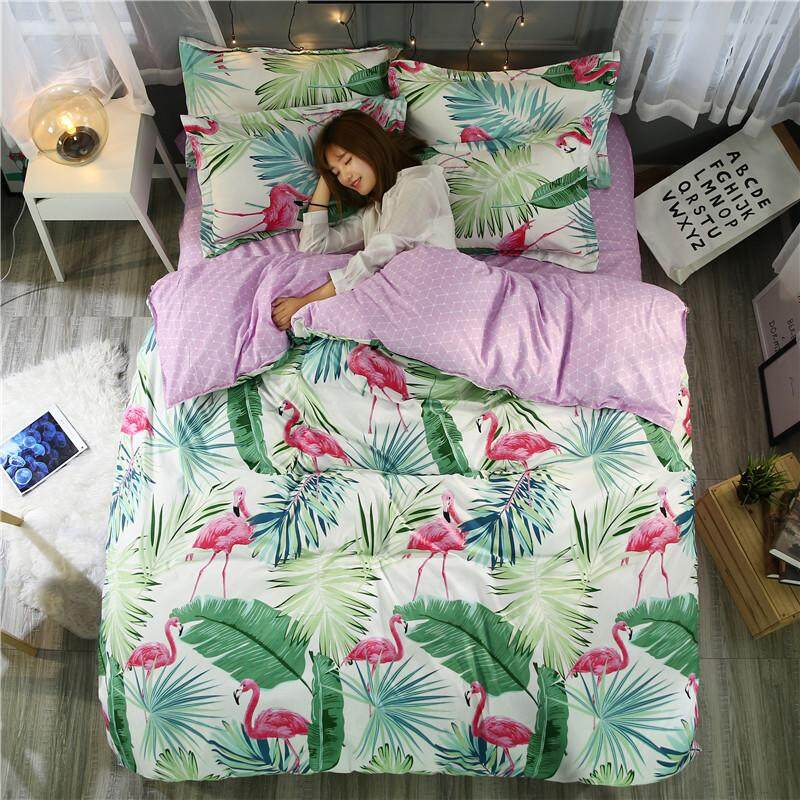 KANG 4pcs Flamingo Bedding Set Tropical Plant Quilt Cover queen full King Size Home Bed Set