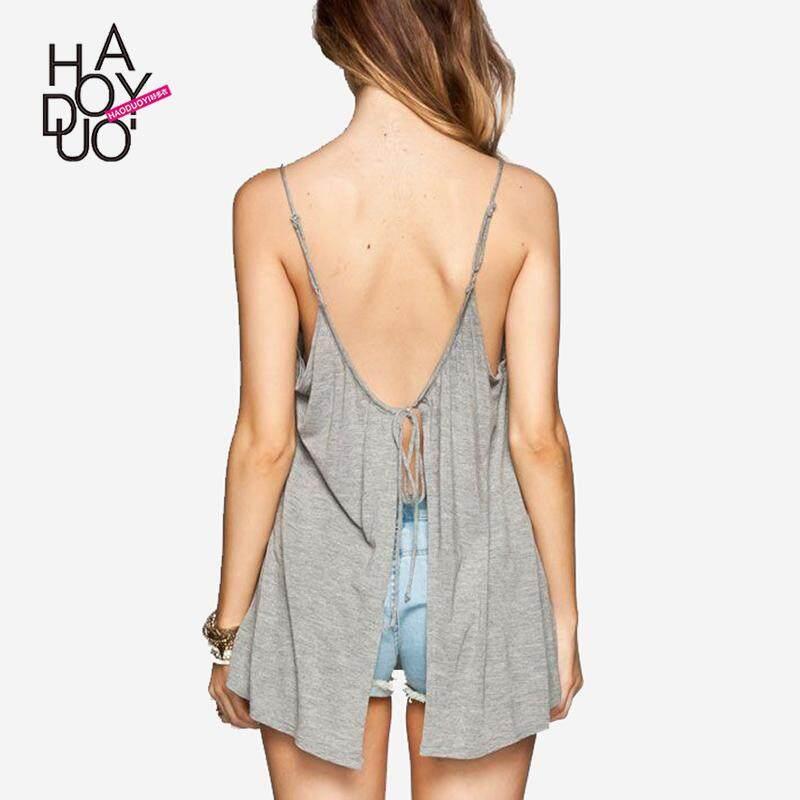 Haoduoyi2019 musim panas membentuk tubuh katun murni tank top longgar rompi wanita model pendek tanpa lengan