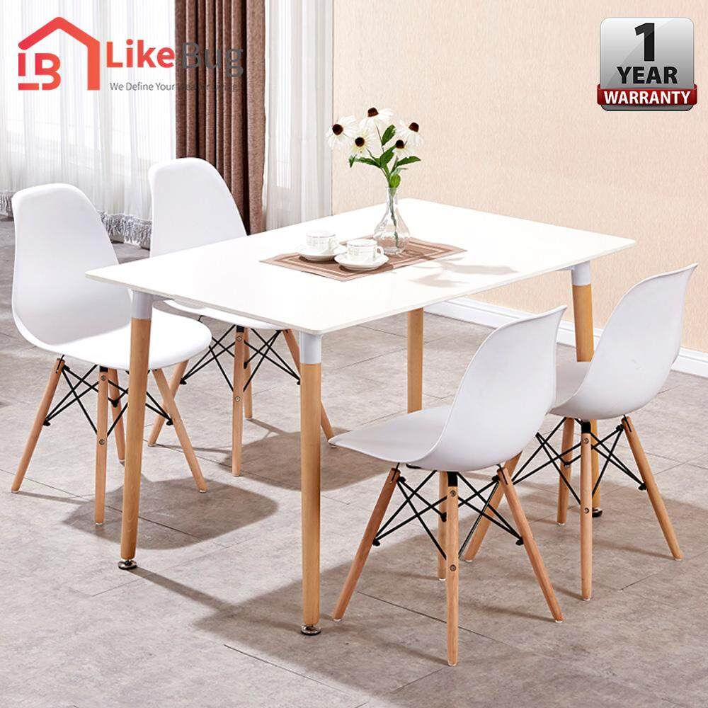 LIKE BUG: Eames Design Set of Simple Dining Table with 4 Curvy Designer Chairs