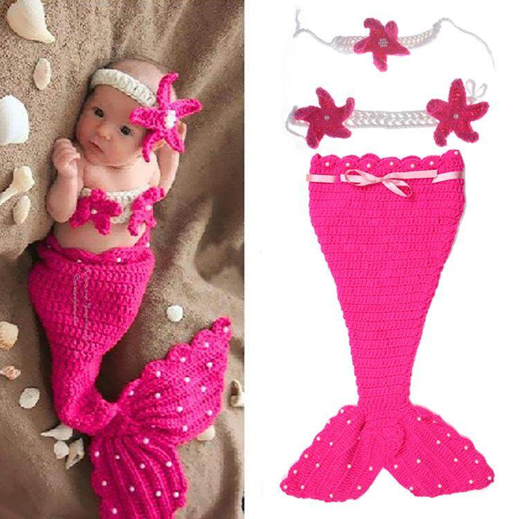 Newborn Baby Costume Photography Props Pearl Mermaid Modeling Clothes(Red) | Lazada