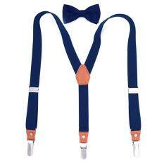 Unisex Adjustable Length Elastic Y Shaped Suspenders Braces Bow Tie Set for Men Women Trousers Pants Jeans – intl