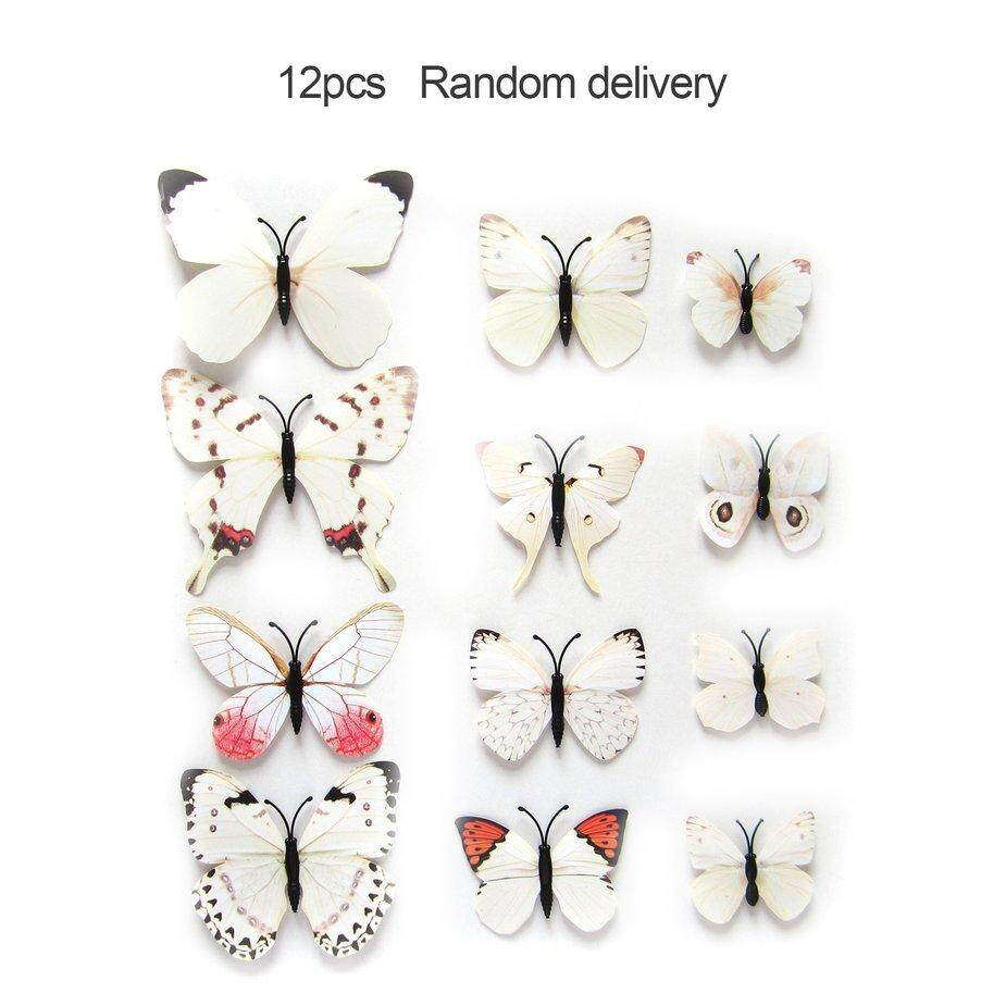Home Decor 12pcs 3D Butterfly Magnetic Fridge Wall Stickers Decal Home Decor