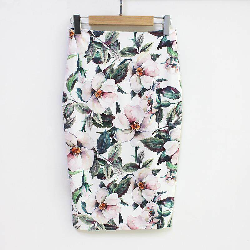 Summer Style Pencil Skirt Women High Waist Green Skirts Vintage Elegant Bodycon Floral Print Midi Skirt