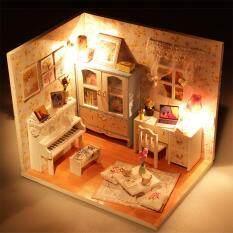 Nhà búp bê lắp ghép Thu Nhỏ Nhà DIY Bộ Gỗ Dễ Thương Phòng có ĐÈN LED Đồ Nội Thất và Cô Gái Che Quà Tặng, Hoa Mùa Hè