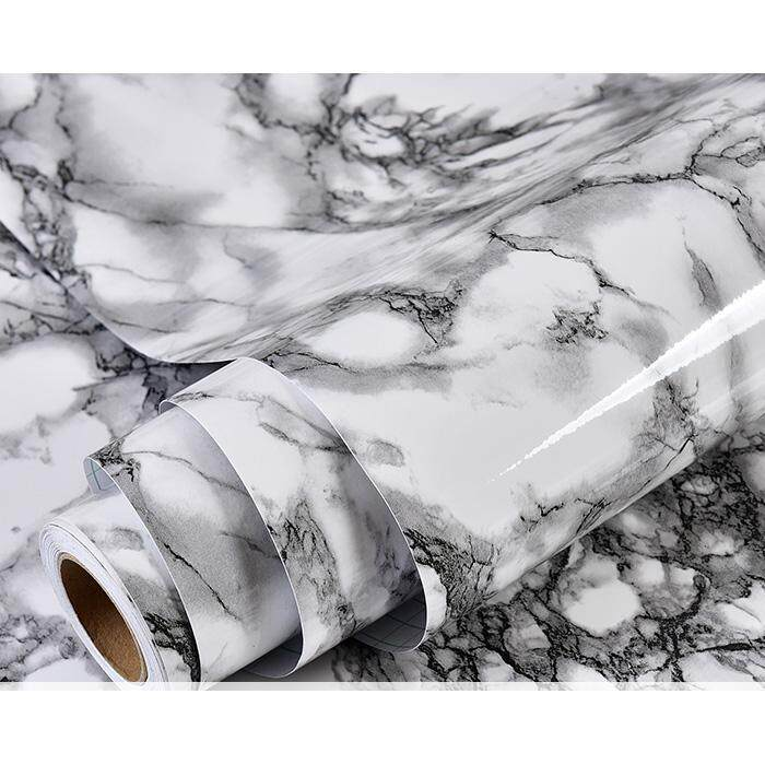 3Mx60cm Modern Kitchen Cupboard Cabinet Self adhesive Marble Pattern Wallpaper Waterproof Furniture PVC DIY Decorative Films Renovation of Furniture