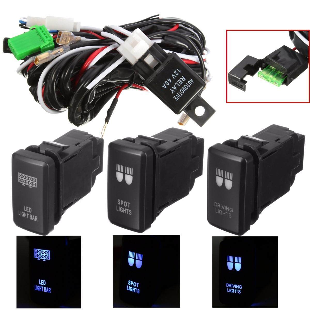 12v 40a Led Fog Light Wiring Harness Laser Rocker Switch Relay Fuse
