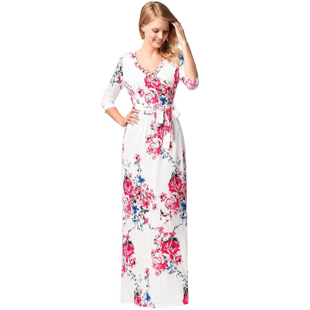 ... RM55 802018 Summer Dress Sexy Deep V Neck Beach Kasual Tunik Femme Vestidos Separuh Lengan Boho