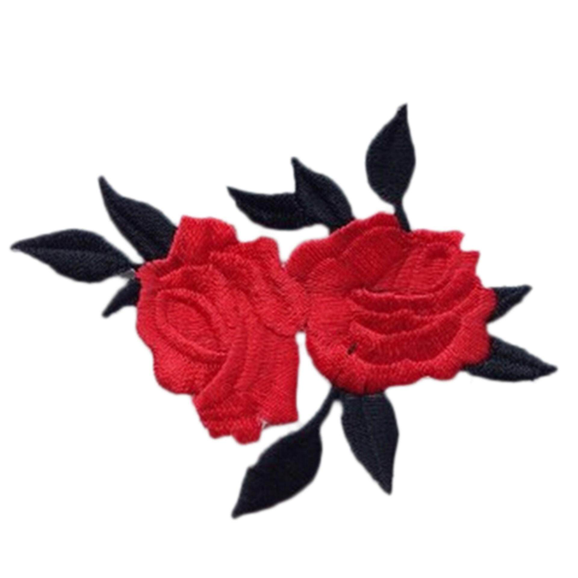 Rose Flower Leaves Embroidery Iron On Applique Patch Red