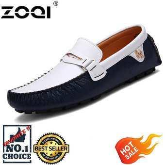 SLIP - Ons & Loafers รองเท้าแฟชั่นผู้ชาย ZOQI รองเท้าแบบตัดต่ำหนังแท้แบนรองเท้า (สีน้ำเงินเข้ม) - In-