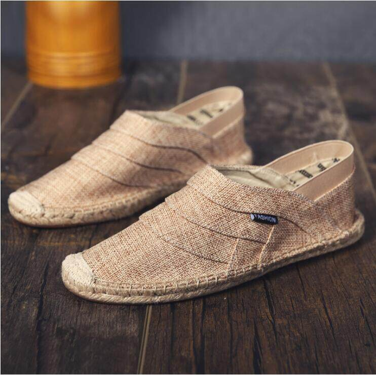 Mens Loafers Breathable Moccasins Canvas Flat Linen Slip  On Driving Shoes Size