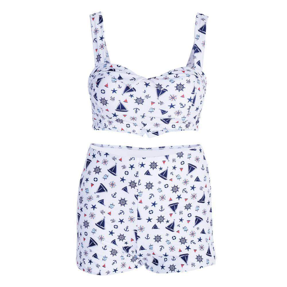 Duoqiao Bernapas Wanita Perempuan Berenang Baju Renang Dua Bagian Baju Renang Bikini Baju Mandi (M)-Intl(White Int:M)