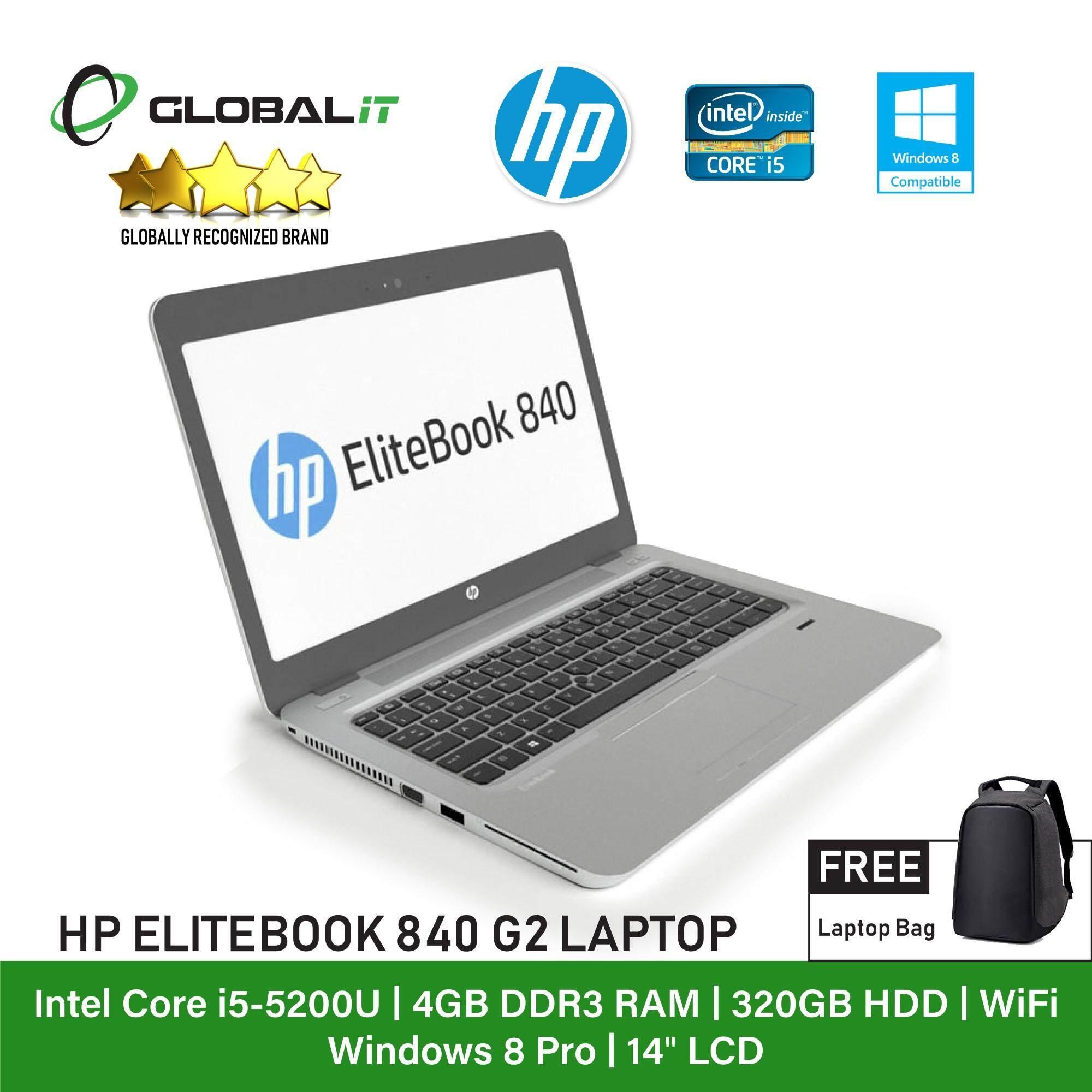(Refurbished Notebook) HP Elitebook 840 G2 Laptop / 14 inch LCD / Intel Core i5-5200U / 4GB Ram / 320GB HDD / WiFi / Windows 8 Pro