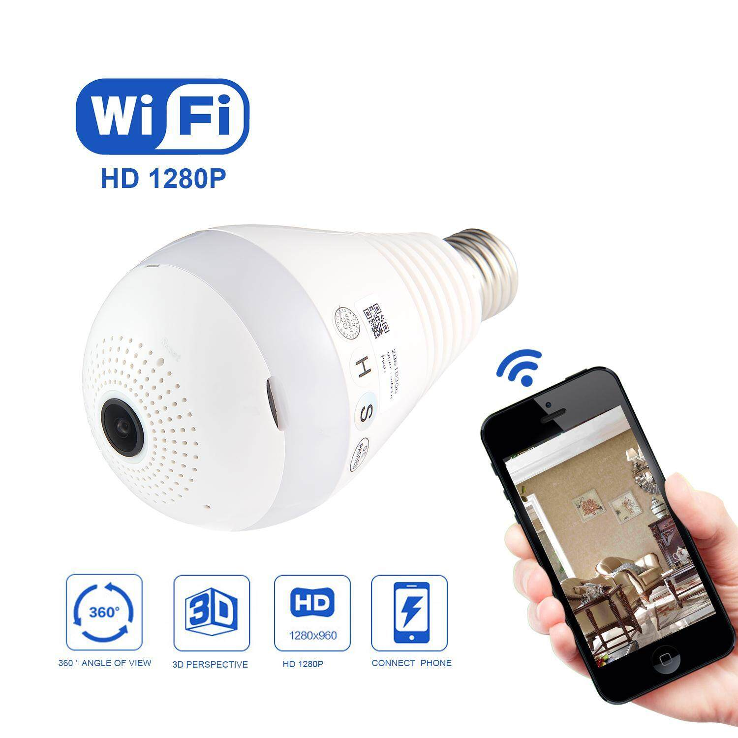 fuskm 360Wide Angle Fisheye WiFi IP Hidden Camera Bulb LED Light 1080P HD Indoor Spy Security Camera Android/IOS APP Remote View Home Network Camera