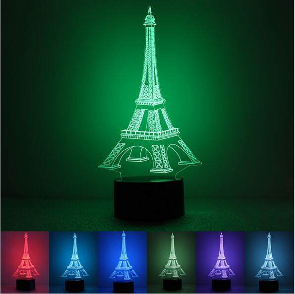 The Eiffel Tower 3D Desk Lamp Colorful LED Romantic Night Light Touch Control Decoration Lights Best For Gift