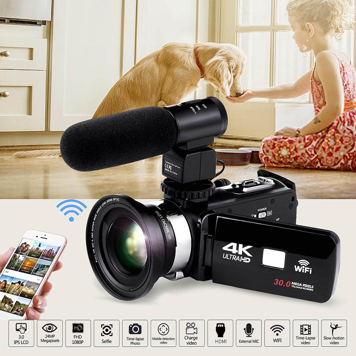Full HD WiFi 1080P 4K 16X ZOOM Digital Video Camera DV Camcorder & Lens& Microphone