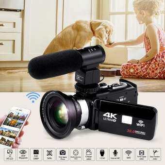 Full HD WiFi 1080 จุด 4 พัน 16X ซูมดิจิตอลกล้องวีดีโอกล้องบันทึก DV & เลนส์และไมโครโฟน-