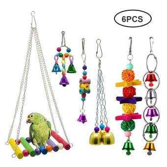 GoodGreat 5 ชิ้นนกพาราคีทของเล่นนก Perches ชิงช้าสำหรับสัตว์เลี้ยงแขวนของเล่นติดกระดิ่งสำหรับ Conures นกแก้ว Parakeets Cockatiels Macaws Finches-