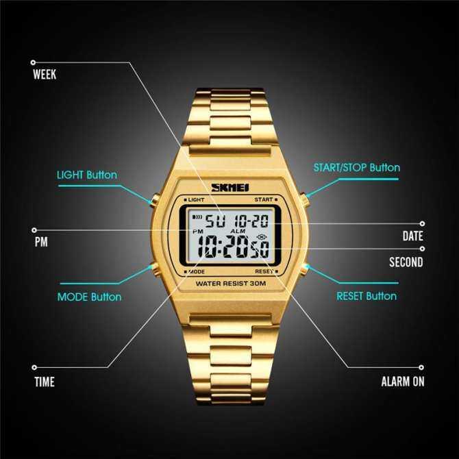 ... Homester Skmei 1328 Men Fashion Outdoor Sportluxury Digital Watch Stopwatch Alloy Strap Business Work 12/ ...