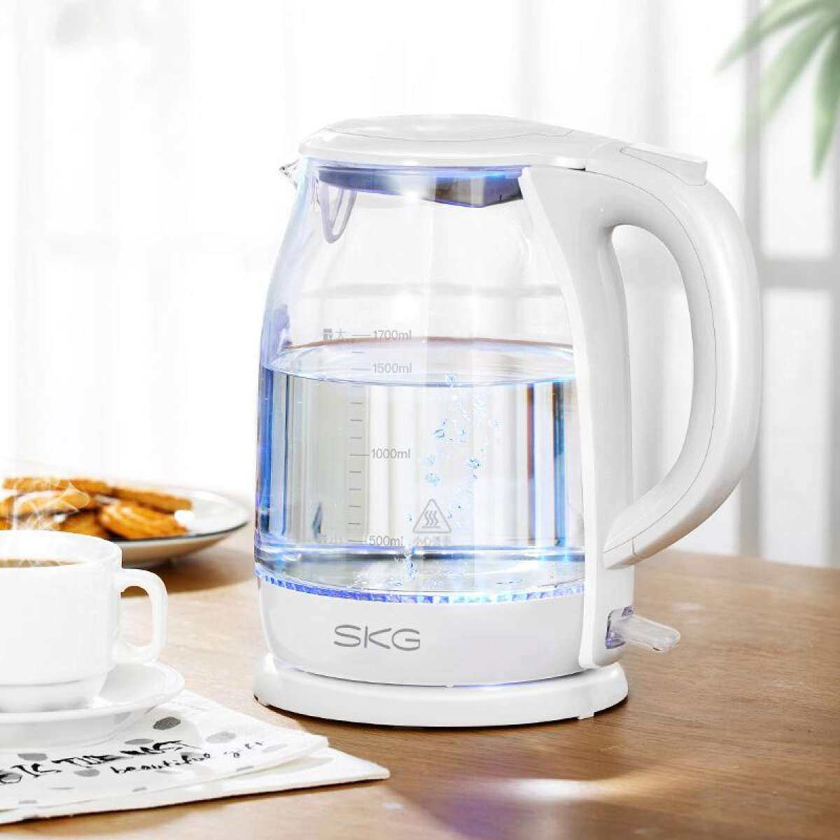 SKG 8082 Electric Kettle, Glass Food Grade 304 Stainless Steel Kettle, Household Electric Kettle 1.7L White