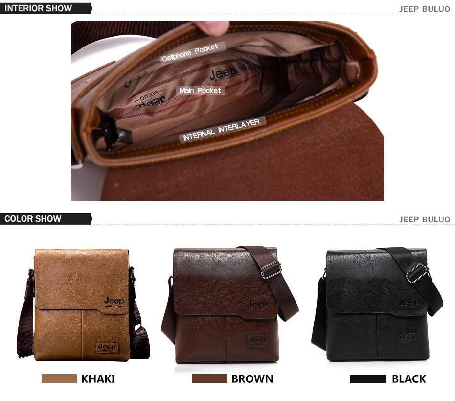 f873175fbcee Jeep Buluo Messenger Bag Jeep Leather Briefcase Shoulder Bag Unisex Working  Briefcase Leather Sling Bag Daypack (Khaki)