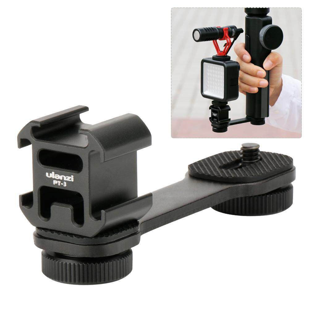 Portable Camera Light Holder Night Photograph Accessory Triple Hot Shoe Mount Cameras Lamp Bracket - intl