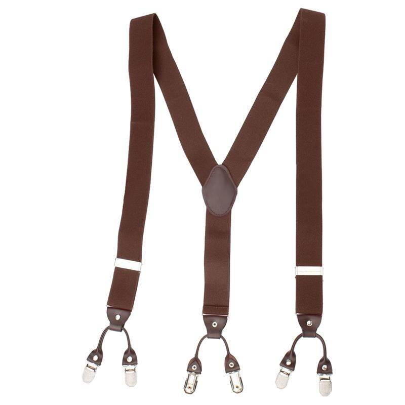 Men Trouser Suspender Adjustable Y-Shape Elastic Braces Buckle Color:coffee