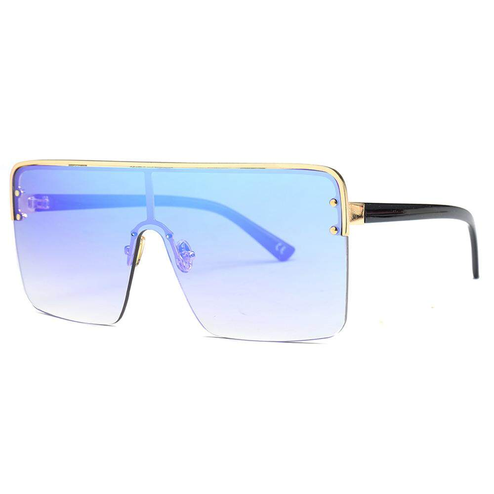 Oversized Square Sunglasses Women One Piece Lens 2019 Brown Black Semi-rimless Sun Glasses Men Windproof Uv400 Blue Gold