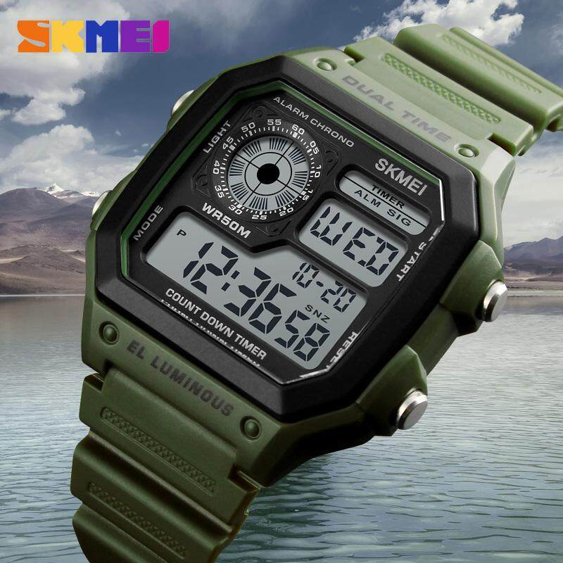 SKMEI New Men Sports Watches Digital Outdoor Watch LED Electronic Countdown Waterproof Wristwatches Men Clock 1299