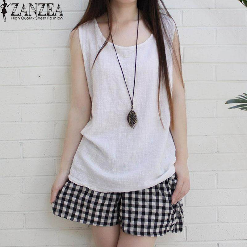 ZANZEA Women Sleeveless Tank Tops Casual Solid Blouse Shirt Tops Cami Camisole - intl