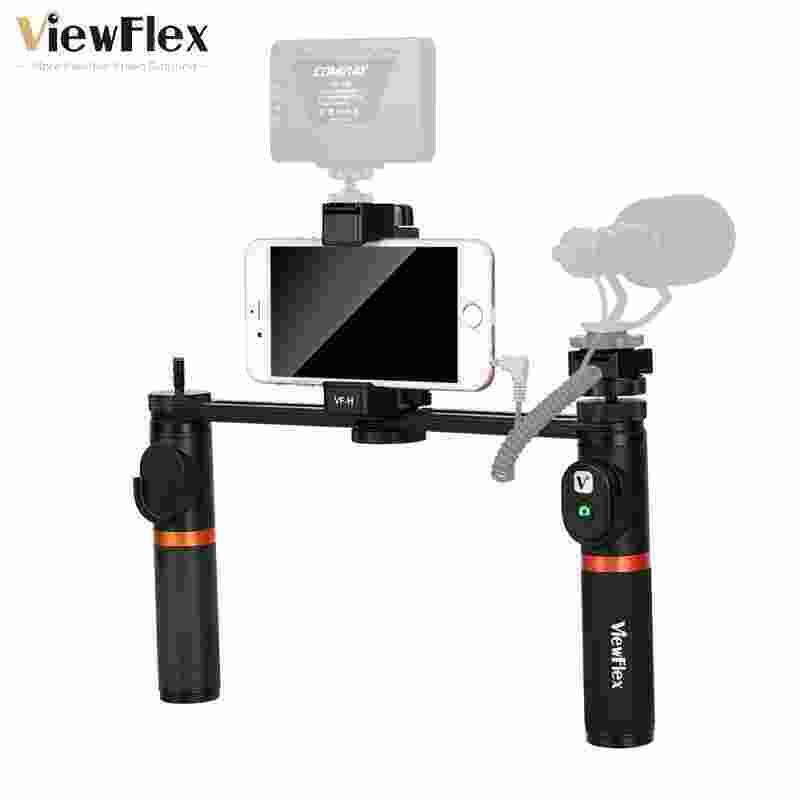 Smartdeal Viewflex VF-H5 Smartphone Perlengkapan Video Dual Handheld Metal Menangani Perlengkapan Penstabil dengan Pengendali Jarak Jauh/Hot Sepatu Instalasi untuk iPhone X 8 7 6 S Plus untuk Samsung Galaxy S8 + S8 Note 3 Huawei