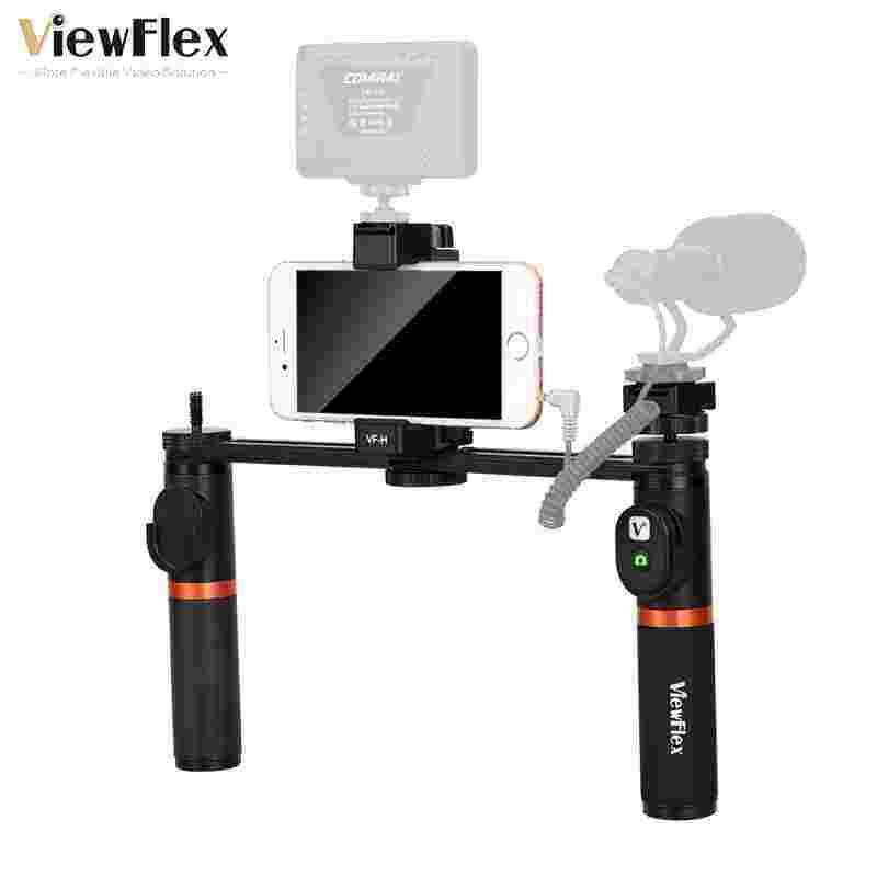 Greattop Viewflex VF-H5 Smartphone Perlengkapan Video Dual Handheld Metal Menangani Perlengkapan Penstabil dengan Pengendali Jarak Jauh/Hot Sepatu Instalasi untuk iPhone X 8 7 6 S Plus untuk Samsung Galaxy S8 + S8 Note 3 Huawei