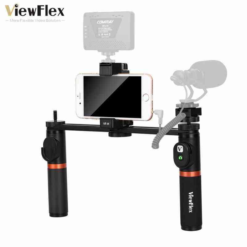 Newzone Viewflex VF-H5 Smartphone Perlengkapan Video Dual Handheld Metal Menangani Perlengkapan Penstabil dengan Pengendali Jarak Jauh/Hot Sepatu Instalasi untuk iPhone X 8 7 6 S Plus untuk Samsung Galaxy S8 + S8 Note 3 Huawei