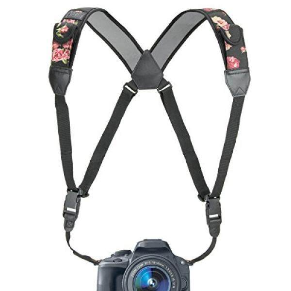 USA Gear Camera Strap Chest Harness with Floral Neoprene and Accessory Pockets by USA GEAR - Works with Canon , Nikon , Fujifilm , Sony , Panasonic and More DSLR , Point & Shoot , Mirrorless Cameras Image